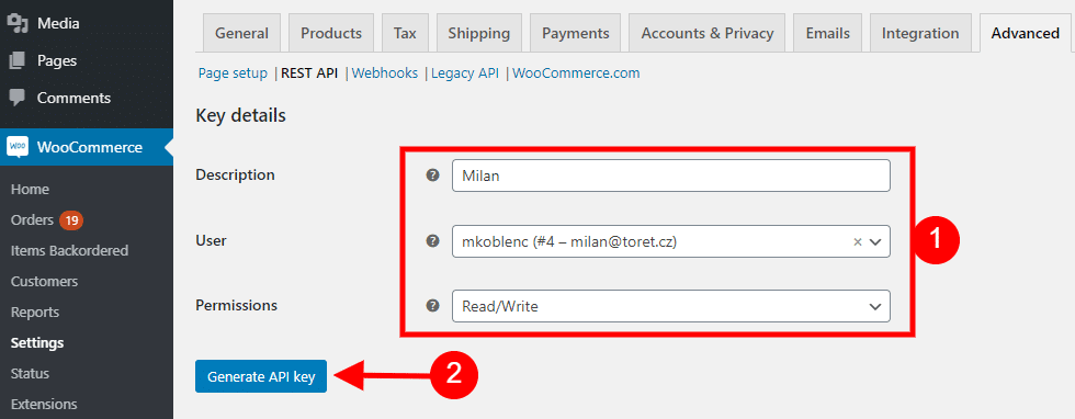 WooCommerce fill in the details of the REST API key