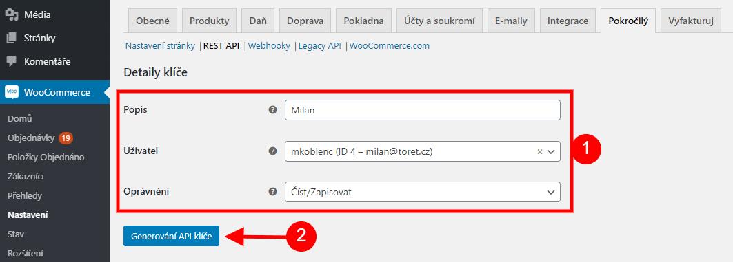 WooCommerce vyplnění detailů REST API klíče