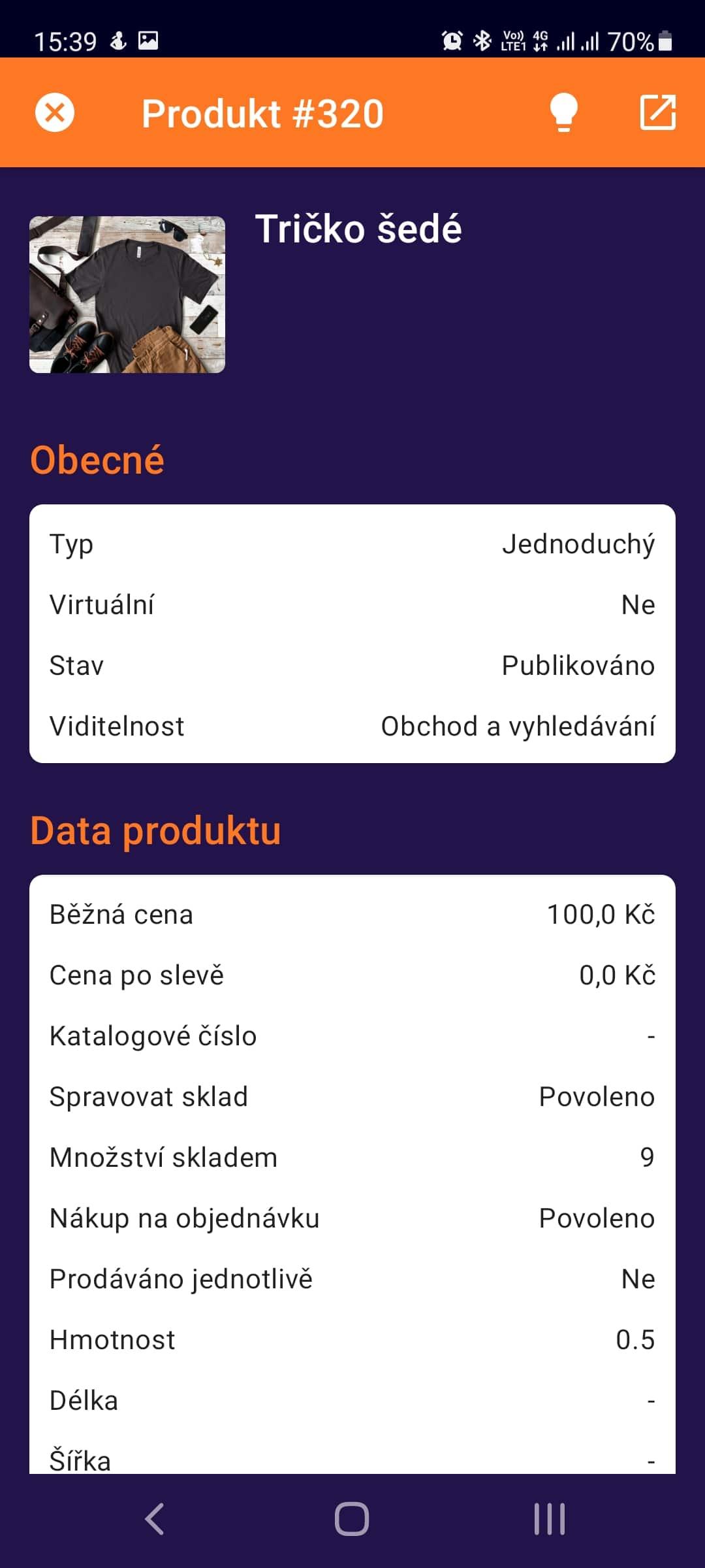 Toret WooCommerce Manager - detail produktu první část (Světlý režim)