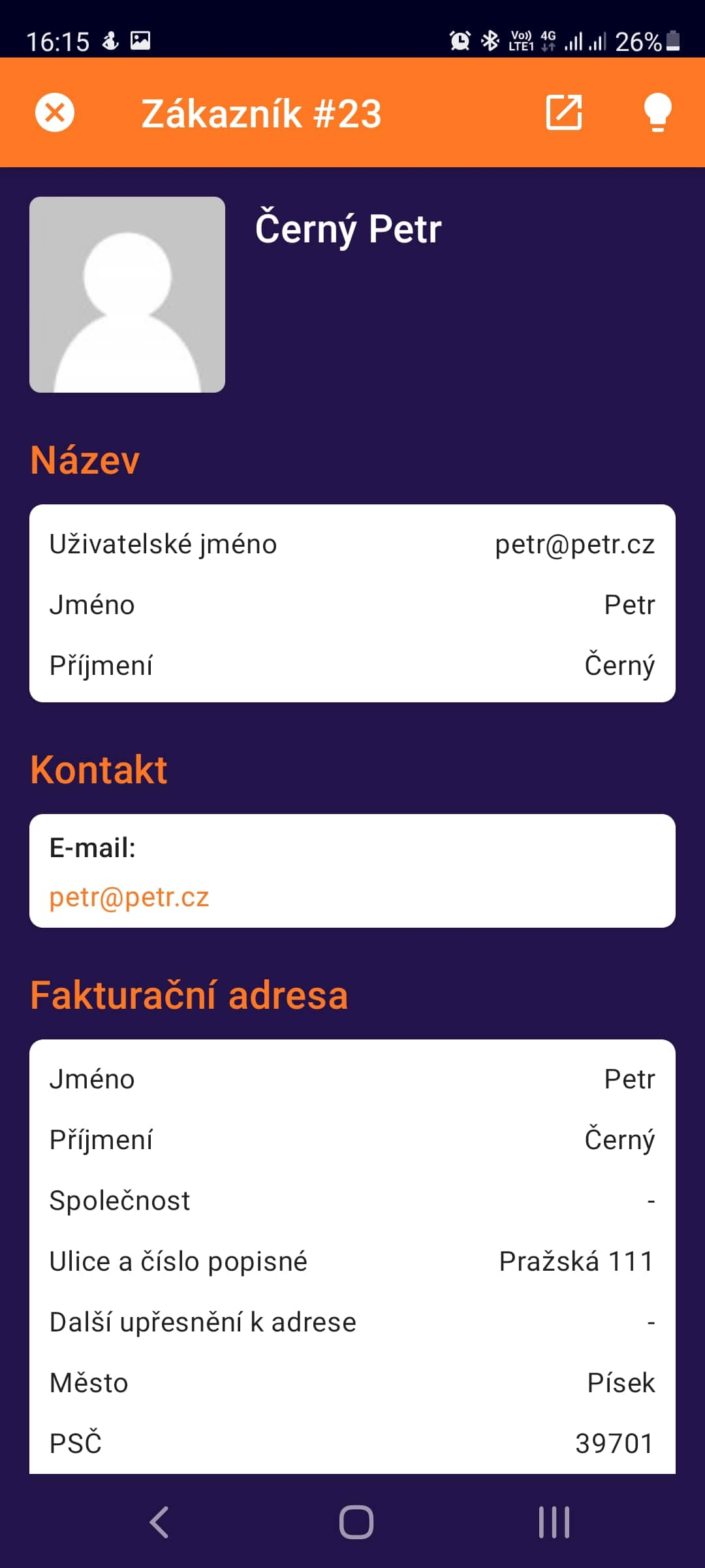 Toret WooCommerce Manager - detail zákazníka (Světlý režim)