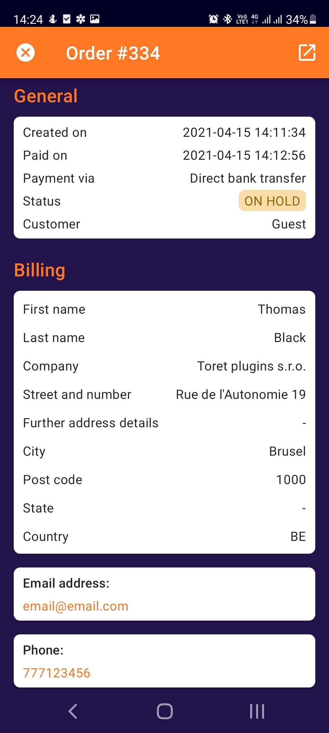 Toret WooCommerce Manager - order detail first part (Light mode)