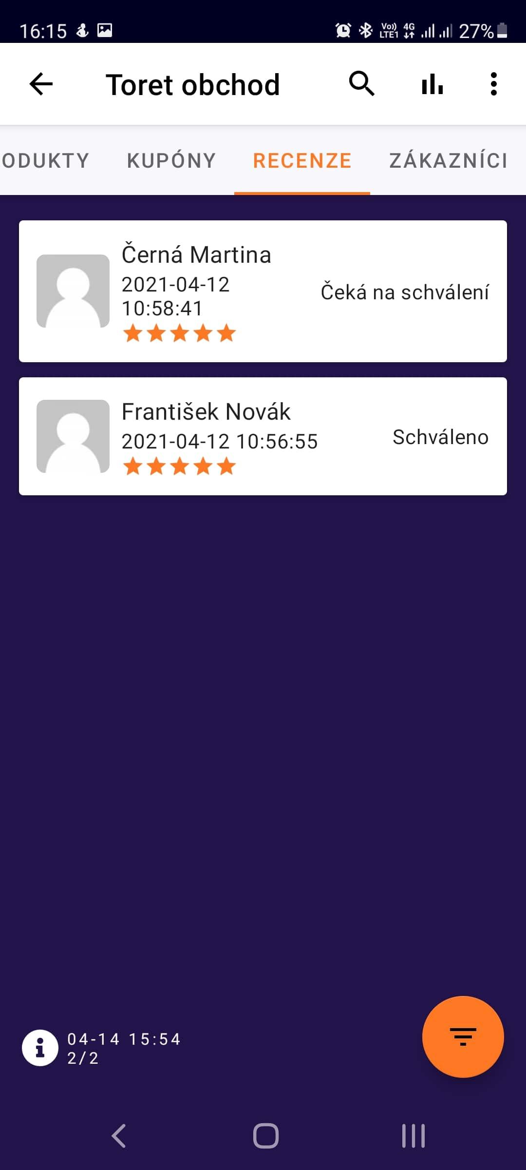 Toret WooCommerce Manager - přehled recenzí (Světlý režim)