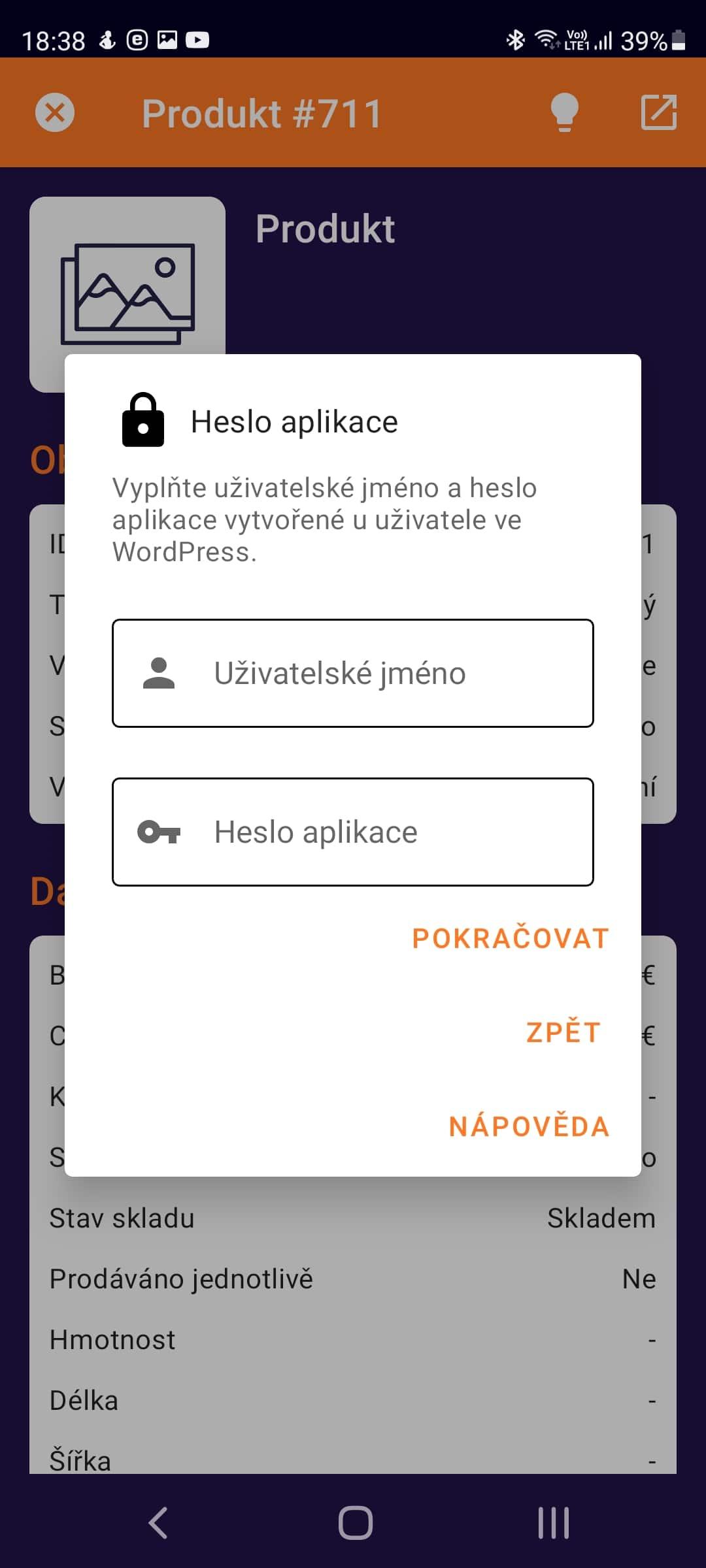 Nastavení hesla aplikace